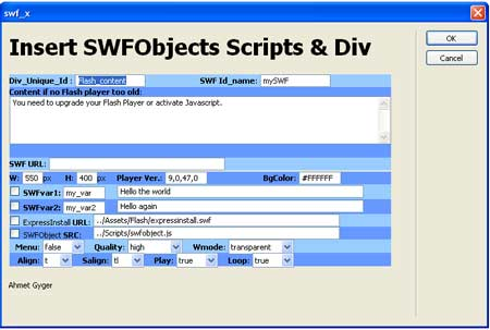 SWFObject Dreamweaver Extension